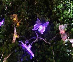 Светильник садово-парковый на солнечной батарее Feron 5 белых LED, синий, CD712B (бабочки)